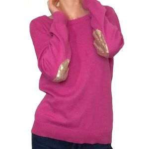 Banana Republic Sequin elbow patches pink sweater